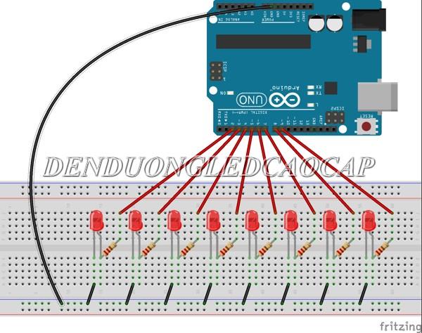 Sơ đồ mạch điện sử dụng arduino điều chỉnh ánh sáng đèn LED