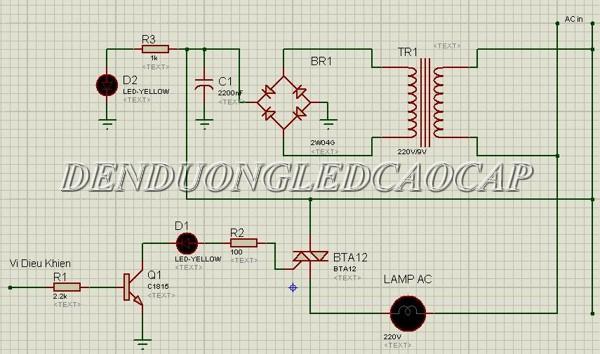Sơ đồ nguyên lý mạch điều chỉnh độ sáng sử dụng triac