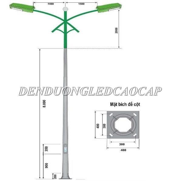 Trụ đèn 8m rời cần đôi được thiết kế kiểu dáng hiện đại