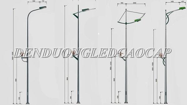 Chiều cao cột đèn đường trung bình 6M - 17M